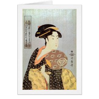 うちわを持つ女, mujer con la fan redonda, Utamaro del 歌麿 Tarjeta De Felicitación