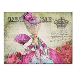 マリーアントワネットのポストカード、王冠ー絵葉書グリーン POSTAL