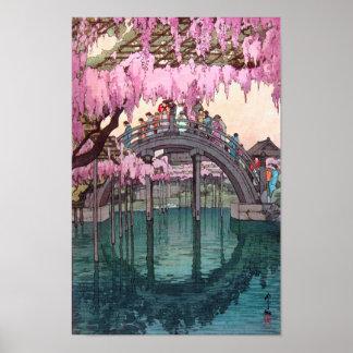 亀戸天神, puente de Kameido, Hiroshi Yoshida, grabar Póster
