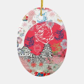 今治城と花とねこ クリスマスツリーオーナメント