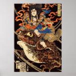 侍と化け蛙, samurai y rana gigante, Kuniyoshi, Ukiyo de Impresiones