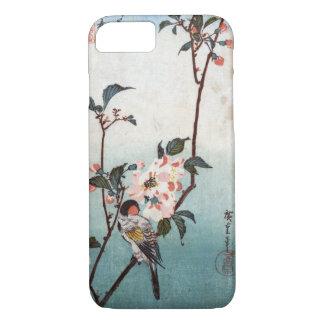 八重桜に鳥, flor de cerezo y pájaro, Hiroshige, Ukiyoe Funda iPhone 7