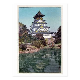 大阪城, castillo de Osaka, Hiroshi Yoshida, grabar en Postal
