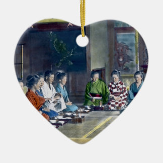 家族 teñido mano japonesa tradicional de la comida adorno de cerámica en forma de corazón