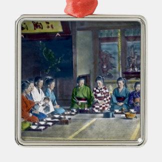 家族 teñido mano japonesa tradicional de la comida adorno navideño cuadrado de metal