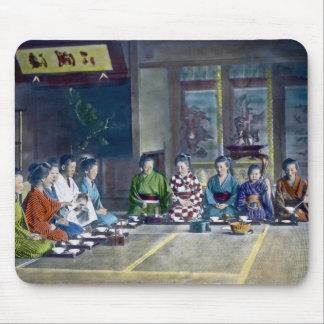 家族 teñido mano japonesa tradicional de la comida d alfombrilla de ratón
