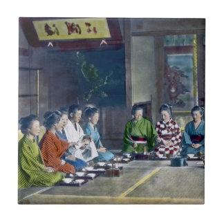 家族 teñido mano japonesa tradicional de la comida d azulejo cuadrado pequeño