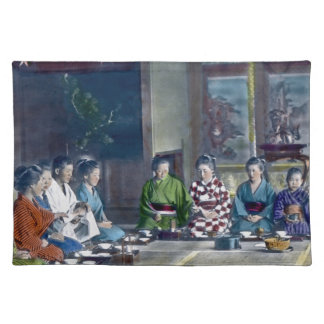 家族 teñido mano japonesa tradicional de la comida d mantel individual