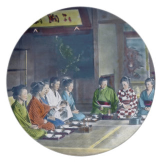 家族 teñido mano japonesa tradicional de la comida d plato de comida