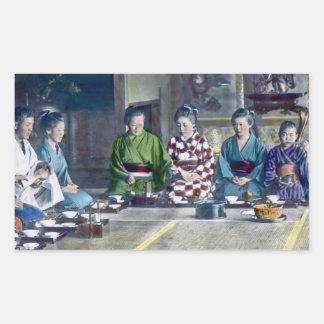 家族 teñido mano japonesa tradicional de la comida pegatina rectangular