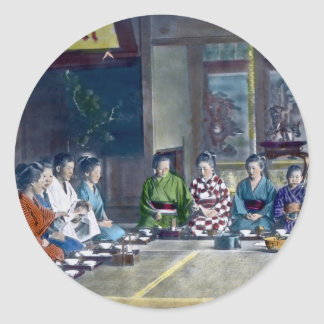家族 teñido mano japonesa tradicional de la comida pegatina redonda
