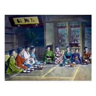 家族 teñido mano japonesa tradicional de la comida postal