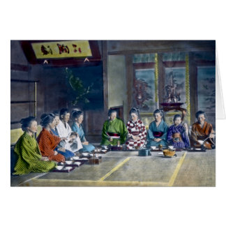 家族 teñido mano japonesa tradicional de la comida tarjeta de felicitación