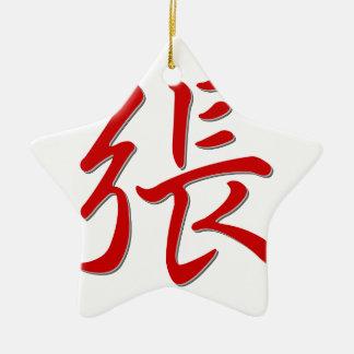 張 del apellido adorno navideño de cerámica en forma de estrella