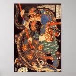 怪物と闘う武蔵, monstruos de la lucha de Musashi, Kuniyos Poster