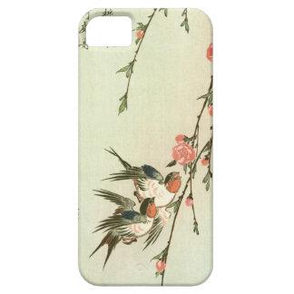 桃の花に燕, flor y trago, Hiroshige del melocotón del Funda Para iPhone SE/5/5s