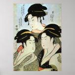 江戸の三美人, mujeres hermosas del 歌麿 tres de Edo, Utama Posters