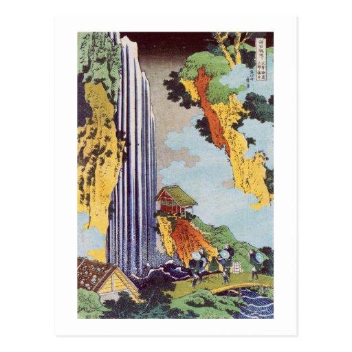 滝, cascada del 北斎, Hokusai, Ukiyo-e Postal
