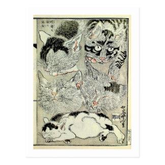 猫, gatos del 暁斎, Kyōsai, Ukiyo-e Postal