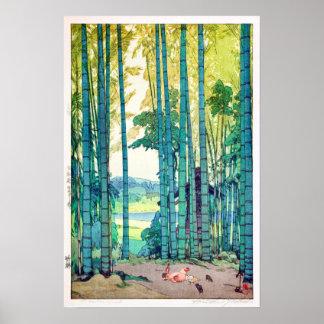 竹林, arboleda de bambú, Hiroshi Yoshida, grabar en Póster