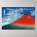 葛飾北斎 rojo Hokusai de Fuji del 凱風快晴 Poster