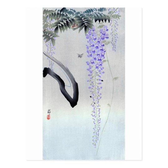 藤の花, glicinia floreciente del 古邨, Ohara Koson, Postal