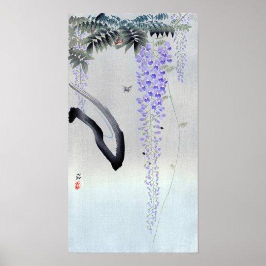 藤の花, glicinia floreciente del 古邨, Ohara Koson, Póster