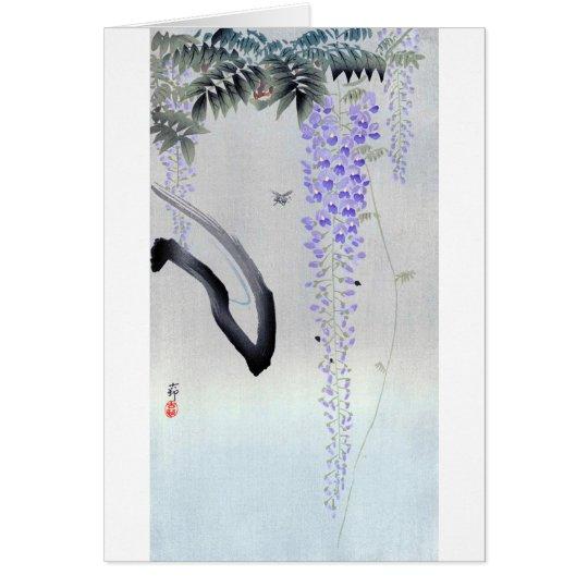 藤の花, glicinia floreciente del 古邨, Ohara Koson, Tarjeta De Felicitación