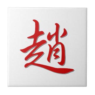趙 del apellido azulejo cuadrado pequeño