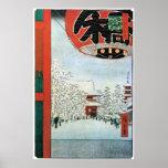 雪の浅草, nieve del 広重 en Asakusa, Hiroshige Ukiyoe Posters