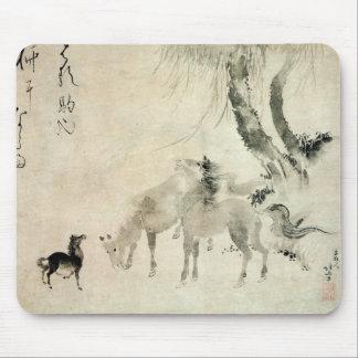 馬の家族, familia del caballo, Hokusai, Sumi-e del 北斎 Alfombrilla De Ratón