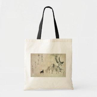 馬の家族, familia del caballo, Hokusai, Sumi-e del 北斎 Bolsa Tela Barata