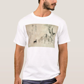 馬の家族, familia del caballo, Hokusai, Sumi-e del 北斎 Camiseta