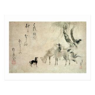馬の家族, familia del caballo, Hokusai, Sumi-e del 北斎 Postal