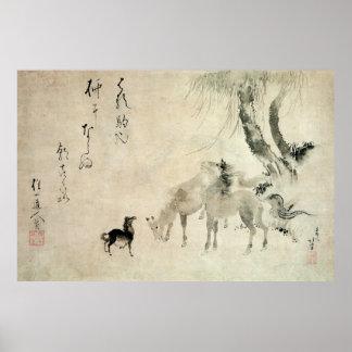 馬の家族, familia del caballo, Hokusai, Sumi-e del 北斎 Póster