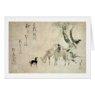 馬の家族, familia del caballo, Hokusai, Sumi-e del 北斎 Tarjeta De Felicitación