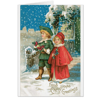 012 niños del Blonde de la nieve de la tarjeta de