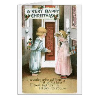 016 regalos rubios de los niños de la tarjeta de