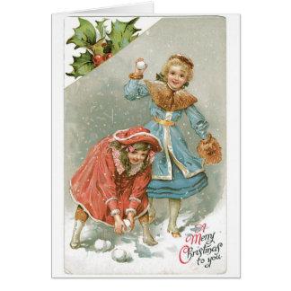 025 bolas de nieve rubias de los chicas de la tarjeta de felicitación