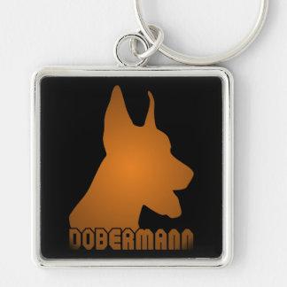 0513032011 Dobermann (Animales) Llavero Cuadrado Plateado