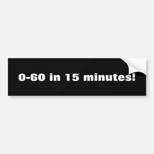 0-60 en 15 minutos pegatina para coche