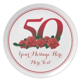 0a placa del aniversario 50 del cumpleaños del plato de cena