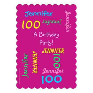 100 años de cumpleaños de invitación joven de la