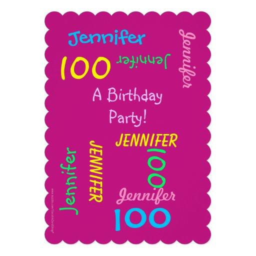 100 años de cumpleaños de invitación joven de la f
