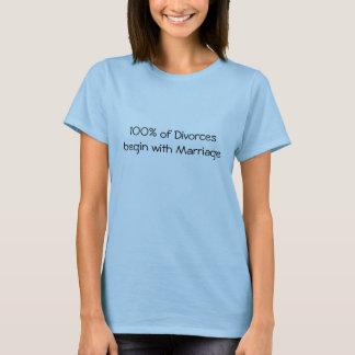 100% de divorcios comienza con boda camiseta