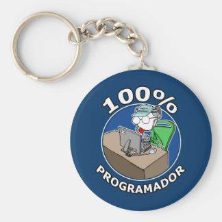 100% Programador Llavero Redondo Tipo Chapa