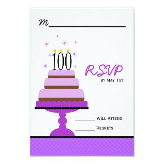 100a fiesta de cumpleaños de la torta con gradas invitación 8,9 x 12,7 cm