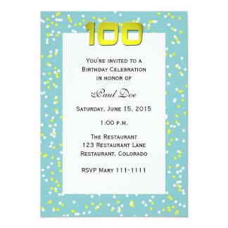 100o Confeti de la invitación del cumpleaños