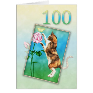 100o Cumpleaños con un gato juguetón Tarjeta De Felicitación