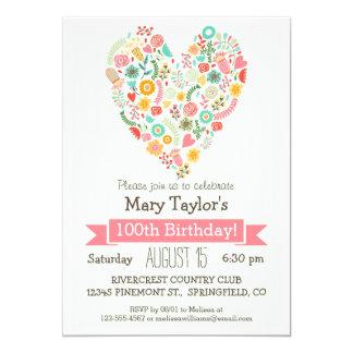 100o Cumpleaños, fiesta de cumpleaños floral linda Invitación 12,7 X 17,8 Cm